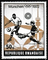 Timbre-poste Gommé Neuf** - Jeux Olympiques De Munich Football - N° 487 (Yvert) - République Rwandaise 1972 - Rwanda