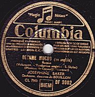 78 Trs - 25 Cm - état TB - JOSEPHINE BAKER - BEZAME MUCHO - BRAZIL - 78 T - Disques Pour Gramophone