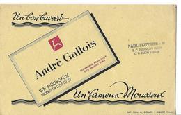Buvard Vin Mousseux André GALLOIS / Tampon Paul FEUVRIER 25 BESANCON - Buvards, Protège-cahiers Illustrés