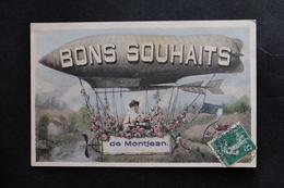 CPA 49 MONTJEAN BONS SOUVENIR BALLON DIRIGEABLE TIMBRE Et TAMPON ECRITE  Maine Et Loire  1908 - France