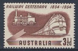 Australia 1954 Mi 248 YT 213 SG 278 ** Steam Loc. (1854) + Diesel Loc. (1954) - Cent. Australian Railways / Eisenbahnen - Trains
