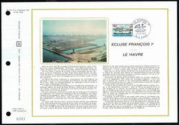 """Y/T N° 1772 Sur 1 FDC Gd Format """"soie""""- Oblit. 1 Ier Jour """"LE HAVRE - 27/10/73  """" - LE HAVRE: écluse """"François I Ier"""". - FDC"""