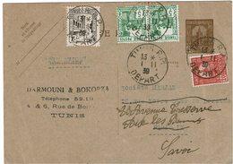 CTN54C- TUNISIE EP CIRCULEE AU TARIF AVION TUNIS/PARIS 1/11/1939 FAIT SUIVRE A AIX LES BAINS - Tunisia (1888-1955)