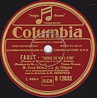 """78 Trs - 25 Cm - état EX - Fred BORDON, De L'OPERA - FAUST """"RONDE DU VEAU D'OR"""" """"SERENADE"""" - 78 T - Disques Pour Gramophone"""