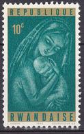 Timbre-poste Gommé Neuf** - La Vierge Et L'Enfant Madonna And Child - N° 128 (Yvert) - République Rwandaise 1965 - Rwanda