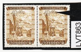 LTV863 ÖSTERREICH 1948 Michl 861 PLATTENFEHLER  FARBSTRICH Durch 0 ** Postfrisch - Abarten & Kuriositäten