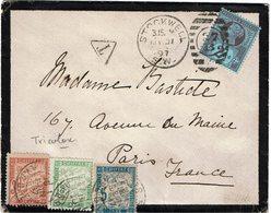 CTN54C- GRANDE BRETAGNE LETTRE STOCKWELL / PARIS MAI 1897 TAXEE  A L'ARRIVEE - Covers & Documents