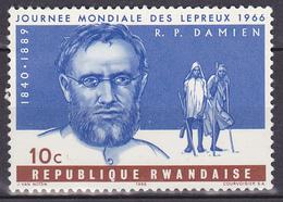 Timbre-poste Gommé Neuf** - Journée Mondiale Des Lépreux Père Joseph Damien - N° 134 (Yvert) - République Rwandaise 1966 - Rwanda