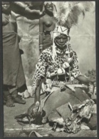 South Africa - Witch Doctor During Ceremony - Two Nude Topless Women In Background - REAL PHOTO - South Africa