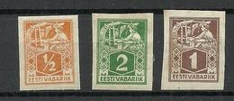 Estland Estonia 1922/23 Michel 32 - 34 B Weaver * - Estonia