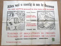 """Affiche """"Tuileries & Briqueteries Du Progrès & De La Lesse, Hennuyères (Braine-le-Comte) - Old Paper"""