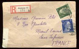 Allemagne - Enveloppe En Recommandé De Hamburg ( Rübenkamp ) Pour La France En 1943 - N83 - Briefe U. Dokumente
