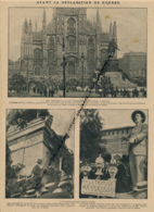 GUERRE 14-18 : Document, Manifestation à Milan Place Du Dôme, Monument De Garibaldi, Leader Italien Corridini, Triplice - Non Classés