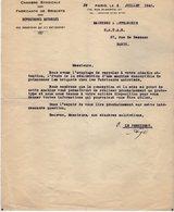 VP13.361 - PARIS 1942 - Lettre De La Chambre Syndicale Des Fabricants De Briquets + La Réponse De La Société S.A.T.A.S. - Documenten