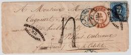 "1855, "" AFFRANCHISSEMENT - INSUFFISANT - M II ""  Cachet  Ambulant ! Rare !    #a1301 - 1851-1857 Medallions (6/8)"