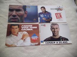 LOT DE 4 CARTES ...PUBLICITE AVEC ZINEDINE ZIDANE ... - Sportifs