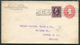 1900 Uprated Stationery Cover Edward J Walter, Baltimore (machine Cancel) - Lime Street, London, England - United States