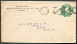 1907 USA Stationery Cover American Wood Working Machinery Co. Rochester NY (machine Cancel) - Mombach Hessen Germany - United States