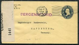 1916 USA 5c Stationery Cover Censor New York - Magdeburger Bankverein, Magdeburg Germany. SS Bergensfjord Ship. Bank - United States