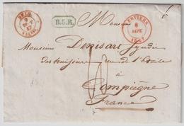 """1847, VERVIERS """", En Vert """" B. 5. R """"  , #a1308 - 1830-1849 (Belgique Indépendante)"""