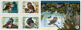 Hungary 2017 Set 4 V MNH + MS MNH Fauna Of Hungary Birds Owls Owl - Búhos, Lechuza