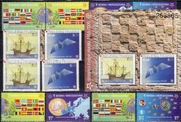 50 Jahre CEPT 2006 Croatia 734/5,ZD,Bl.27,Bosna 419/2+ZD ** 116€ Karte Flagge S/s Maps Blocs Flags Sheets Bf EUROPA - Croatie