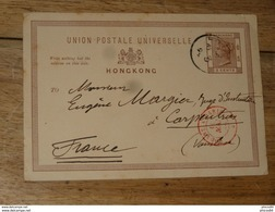 Entier Postal De HONG KONG Posté En 1894 Pour La FRANCE  ........... HR157 - Hong Kong (...-1997)
