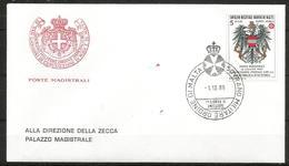 1989 ORDINE DI MALTA SMOM  Austria PA FDC  Viaggiata Bellissima - Malte (Ordre De)