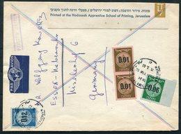 1960 Israel Youth Hostels Advertising Card Airmail Jerusalem - Germany. Coin Provisional Opts. Hadassah Printing School - Israel