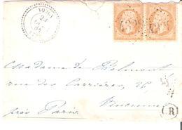 10c.Empire Dentelé Paire Oblitéré G.C.4328 Dateur Type 22 De VOULX Seine Et Marne - Marcophilie (Lettres)