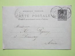 Carte Postale écrite à PARIS Le 19 Janvier 1898 Oblitérée PARIS & PREMERY (58) - Entier Type Sage Noir 10c - Entiers Postaux