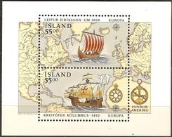 Cept 1992 Islande Iceland Ijsland Yvertn° Bloc 13 *** MNH Cote 13 Euro Europa - 1944-... Republique