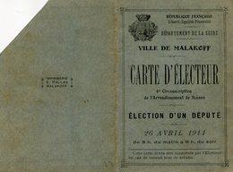 CARTE D ELECTEUR(MALAKOFF) - Non Classés
