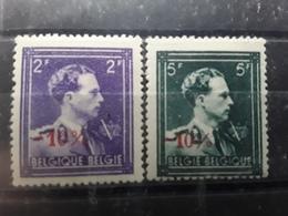 BELGIQUE 1946, Surcharge -10 %, Yvert No 724 S & 724 T , Neufs * Tb - 1946 -10%