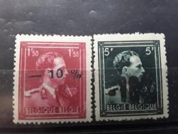 BELGIQUE 1946, Surcharge -10 %, Yvert No 724 B & 724 P Avec Surcharges Déformées , Neufs * * MNH , Signés  TB - 1946 -10%