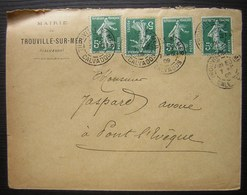 1909 Mairie De Trouville, 4 Cachets Sur 4 Timbres Semeuse à 5 Centimes - Postmark Collection (Covers)