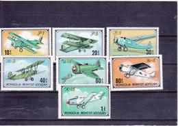 Mongolie Neuf **  1976  N° 871/877  Transport.  Avions - Mongolie