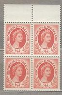 RHODESIA NYASALAND 1954 4 X Block MNH Mi 1 SG 1 (**) #23446 - Rhodesia & Nyasaland (1954-1963)