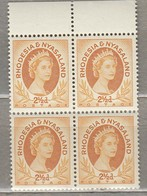 RHODESIA NYASALAND 1954 4 X Block MNH Mi 4 SG 3a (**) #23448 - Rhodesia & Nyasaland (1954-1963)