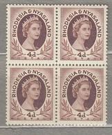 RHODESIA NYASALAND 1954 4 X Block MNH Mi 6 SG 5 (**) #23449 - Rhodesia & Nyasaland (1954-1963)