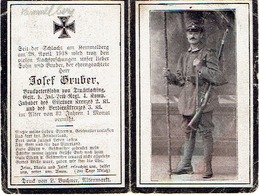 Sterbebild J. GRUBER - Gefr. Inf. Leib. Regt 4. Komp.- Gestorven 1918 KEMMELBERG - 1914-18