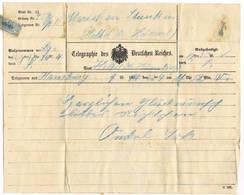 TELEGRAM   TELEGRAMME   Telegraphie Des Deutschen Reiches 189..... - Documents Historiques