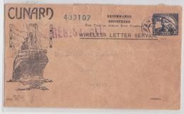THE CUNARD STEAM SHIP COMPANY NYC RADIO DEPARTMENT GERMANIA WIRELESS REGISTERED LETTER SERVICE STEAMER LETTRE PAQUEBOT - Ships