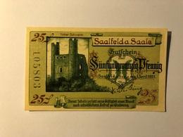 Allemagne Notgeld Saalfeld 25 Pfennig - [ 3] 1918-1933 : République De Weimar