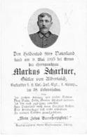 Sterbebild Markus SCHARTNER - Gefreiter 2.Res. Inf.-Rgt 4.Komp. - Gestorven 1915  Bei ARRAS (F) - 1914-18