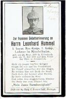 Sterbebild Leonhard HUMMEL - 1.bayer. Res.-Korps, 1.Komp. - Gestorven 1915 - Begraven ST. LAURENT-BLAGNY (F) - 1914-18