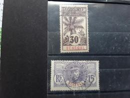 SENEGAL 1906,  Faidherbe / Palmier, 2 Timbres  Obl Yvert 35, 15 C Violet  & No 38, 30 C Brun TB - Senegal (1887-1944)