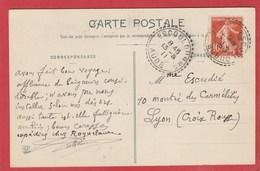 Aude - Escouloubre -  Facteur Boitier- CaD 1911 - Semeuse 10C. -Cachet Perlé - 1877-1920: Semi Modern Period