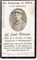 Sterbebild J. KLIMMER - Soldat 13.Inf. Regt. 10.Komp. - Gestorven 1916 ARGONNEN - Begraven APREMONT (F) Bl.3-239 - 1914-18