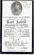 Sterbebild Karl FASOLD - Obergefreiter F.b.3 Res. Fuss Art.Rgt 4.Bat. - Gestorven 1916 - Begraven NEUVILLE ST. VAAST (F) - 1914-18